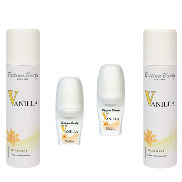 Bettina Barty Vanilla Deodorant Roll-On 2 x 50 ml & Deo Spray 2 x 150 ml
