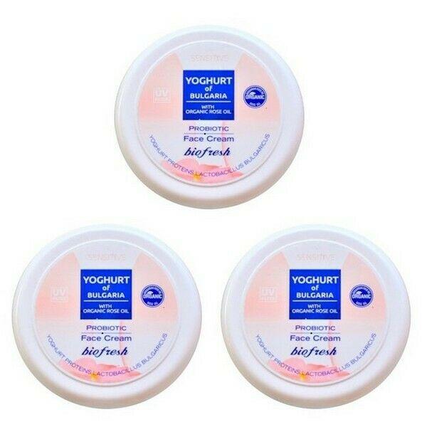 BioFresh Yoghurt of Bulgaria Probiotische Gesichtscreme Bio-Rosenöl 3 x 100 ml