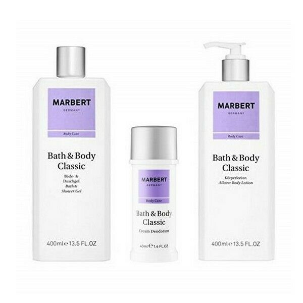 Marbert Bath & Body Classic Bath & Shower Gel 400ml + Body Lotion 400ml + Deodorant 40ml