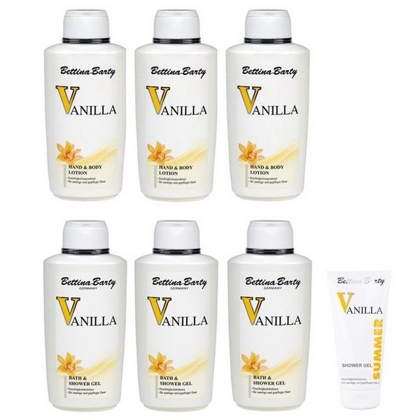 Bettina Barty Vanilla Body Lotion + Shower Gel, each 3 x 500 ml + Summer Shower Gel 150 ml