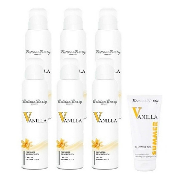 Bettina Barty Vanilla Creamy Shower Foam 6 x 200 ml + Summer Vanilla Shower Gel 150 ml