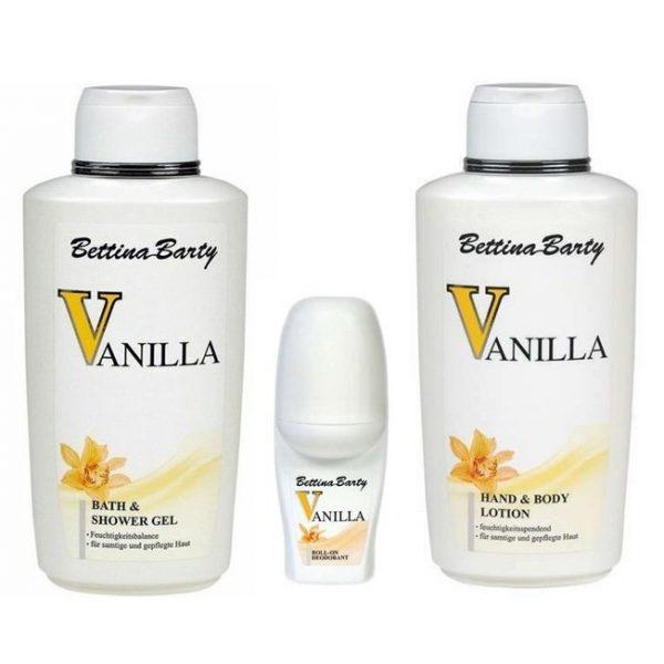 Bettina Barty Vanilla Bath & Shower Gel 500ml + Body Lotion 500ml + Deo Roll-On 50ml